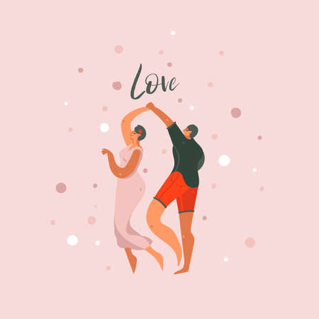 Hand drawn vector abstract cartoon modern graphic Happy Valentines day concept illustrations art card with dancing couples people together and Love text isolated on pastel background