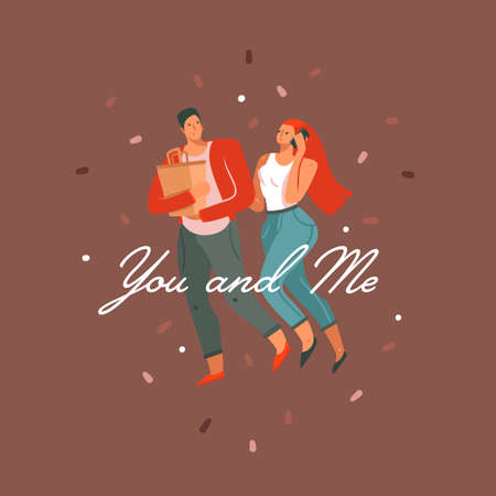 Hand drawn vector abstract cartoon modern graphic Happy Valentines day concept illustrations card with couples people together and You and Me text isolated on color background