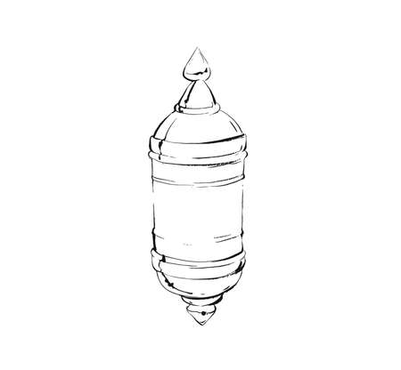Hand drawn vector abstract graphic ink drawing illustration of arab lantern isolated on white background
