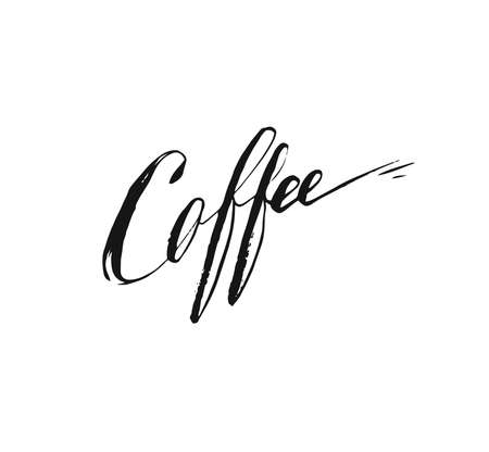 Hand drawn vector abstract artistic ink sketch drawing handwritten coffee word calligraphy isolated on white background. Coffee shop concept