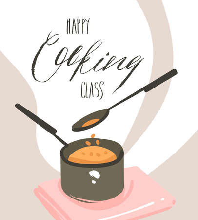 Hand drawn vector abstract modern cartoon cooking class illustrations poster with preparing food scene,saucepan,spoon and handwritten calligraphy text Happy Cooking class isolated on white background
