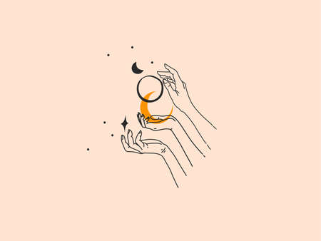 Hand drawn vector abstract stock flat graphic illustration with elements ,woman fashion magic line art hands touch moonand stars in simple style for branding ,isolated on color background