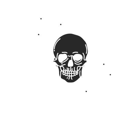 Hand drawn vector abstract stock flat graphic illustration with element of magic human skull silhouette art in simple style for branding,isolated on white background Ilustrace