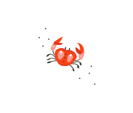 Hand drawn vector stock abstract flat cartoon graphic illustration with tropical summer ocean underwater funny sea crab isolated on white background