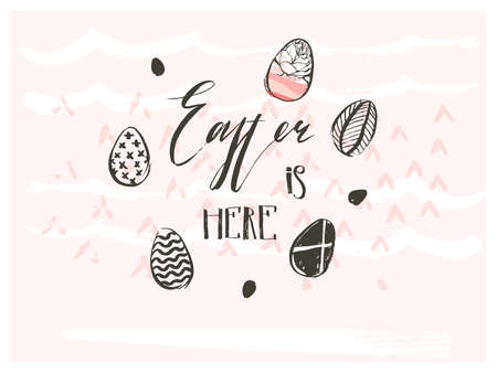 Hand drawn vector abstract graphic scandinavian collage Happy Easter cute simple eggs illustrations. Textures greeting card and Easter is here handwritten calligraphy isolated on pink background. Illustration