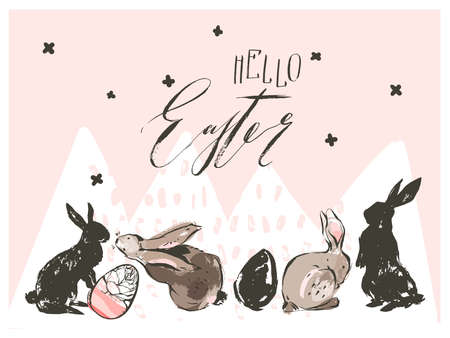 Hand drawn vector abstract graphic scandinavian collage Happy Easter cute simple bunny sihouette. eggs illustrations greeting card and Hello Easter handwritten calligraphy isolated on pink background. Illustration