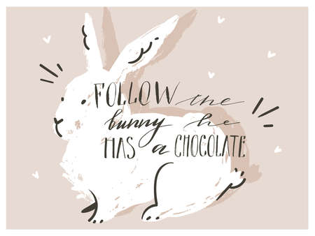 Hand drawn vector abstract scandinavian collage Happy Easter bunny sihouette illustrations