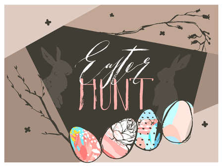 Hand drawn vector abstract graphic scandinavian collage Happy Easter cute simple bunny silhouette. eggs illustrations greeting card and Easter hunt handwritten calligraphy isolated on brown background. Illustration