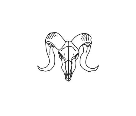 Hand drawn vector abstract stock flat graphic illustration with   element of magic goat head skull line art in simple style for branding,isolated on white background