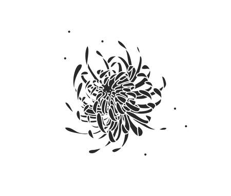 Hand drawn vector abstract stock flat graphic illustration with   element of line silhouette flower art of chrysanthemum in simple style for branding, isolated on white background