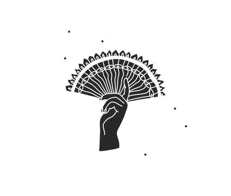 Hand drawn vector abstract stock flat graphic illustration with  elements , hand holding a chinesee fan line and silhouette,magic art in simple style for branding,isolated on white background Illustration