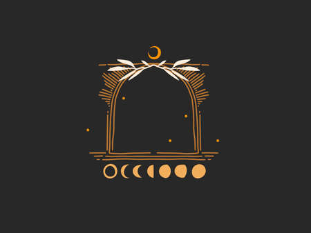 Hand drawn vector abstract stock flat graphic illustration with  elements, magic line art of crescent, moon phase and stars in simple style for branding ,isolated on black background