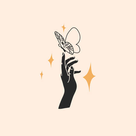 Hand drawn vector abstract stock flat graphic illustration with   elements, magic line art of butterfly, feminine hand silhouette and stars in simple style for branding ,isolated on color background