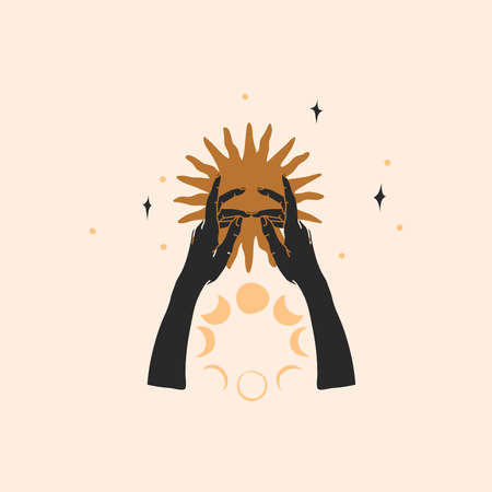 Hand drawn vector abstract stock flat graphic illustration with  element, magic line art of gold sun, human hand silhouette and moon phases in simple style for branding, isolated on color background Illustration