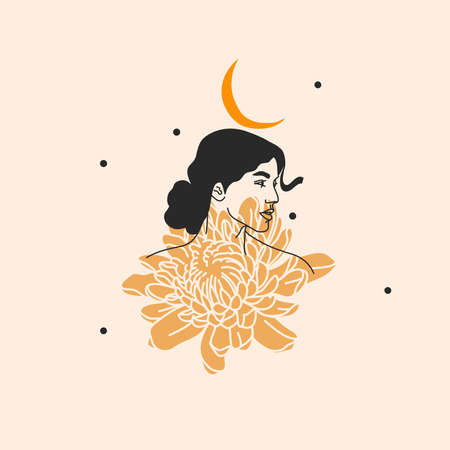 Hand drawn vector abstract stock flat graphic illustration with   elements ,boho female with flowers and moon sacred line art icon in simple style for branding ,isolated on white background.