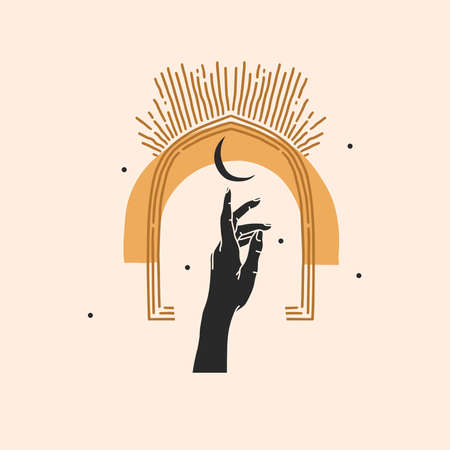 Hand drawn vector abstract stock flat graphic illustration with element, magic line art of crescent, female hand silhouette and arch frame in simple style for branding, isolated on color background