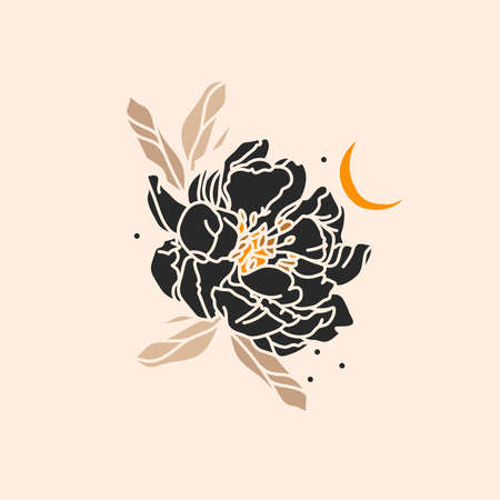 Hand drawn vector abstract stock flat graphic illustration with  element,magic line art of gold crescent moon and peony flower silhouette in simple style for branding,isolated on color background