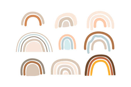 Flat boho Various rainbows. Kids drawing style. Different ornaments. Childish scandinavian style. Flat design. Hand drawn colored vector set. Modern trendy illustration. All elements are isolated