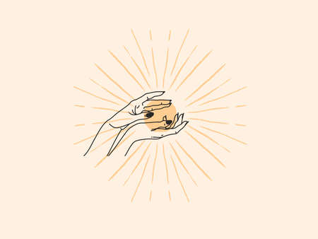 Hand drawn vector abstract stock flat graphic illustration with  element,magic line art of gold sun,female hand and golden sun rays in simple style for branding,isolated on color background
