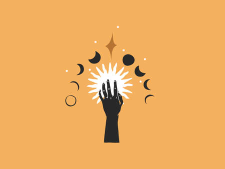 Hand drawn vector abstract stock flat graphic illustration with   elements, magic line art of sun,crescent,moon phase and stars in simple style for branding ,isolated on color background Illustration