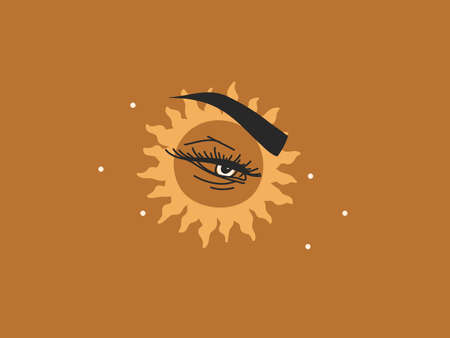 Hand drawn vector abstract stock flat graphic illustration with   elements, magic line art of feminine eye,boho sun and stars in simple style for branding ,isolated on color background