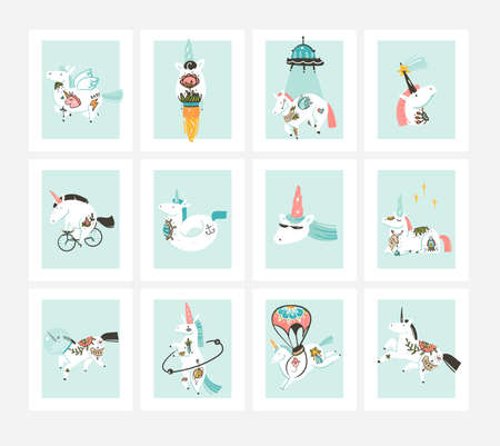 Hand drawn vector abstract stock graphic illustration cards collection set bundle with beauty,magic cute celestial space tattoo unicorns isolated on white background