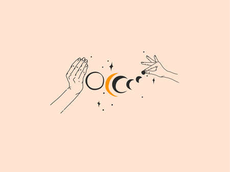 Hand drawn vector abstract stock flat graphic illustration with   elements ,woman fashion magic line art hands touch moon and stars in simple style for branding ,isolated on color background