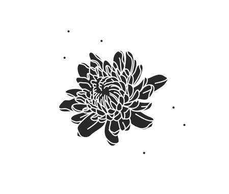 Hand drawn vector abstract stock flat graphic illustration with   element,magic peony flower silhouette in simple style for branding,isolated on color background