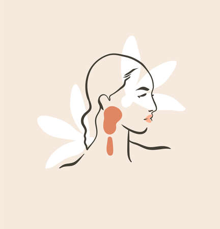 Hand drawn vector abstract stock flat graphic contemporary line art,aesthetic fashion illustration with bohemian,beautiful modern female portrait in simple trendy style isolated on pastel background Illustration