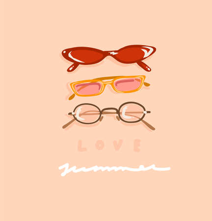 Hand drawn vector abstract stock graphic contemporary aesthetic,fashion illustration with vintage beautiful modern female sunglasses and handwritten text Love Summer isolated on pastel background