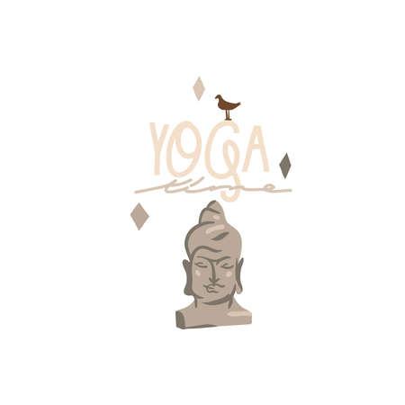 Hand drawn vector abstract stock graphic bohemian clipart illustration with young beauty Buddha head figurine,meditating and yoga concept isolated on white background.Yoga time lettering Illustration