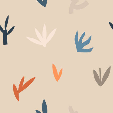 Hand drawn vector abstract stock graphic illustration art seamless pattern,with modern collage nature contemporary print of boho geometric shapes,floral silhouettes in pastel colors