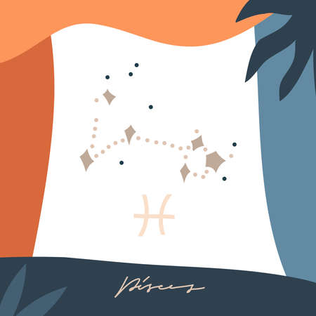 Hand drawn vector abstract stock graphic simple astrology celestial illustration card art with modern collage artistic boho contemporary print template of zodiac sign stars,Pisces constellation