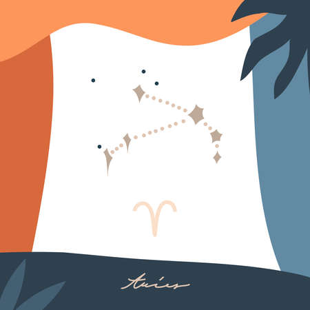 Hand drawn vector abstract stock graphic simple astrology celestial illustration card art with modern collage artistic boho contemporary print template of zodiac sign stars,Aries constellation Illustration