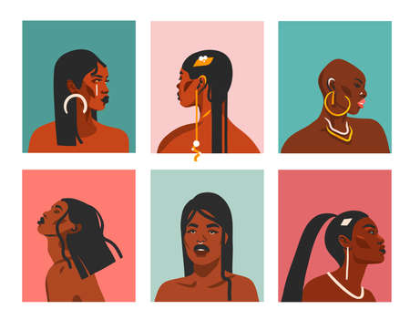 Hand drawn vector abstract stock flat graphic illustrations with ethnic bohemian tribal black,beautiful african american women collection portrait set isolated on color background Illustration
