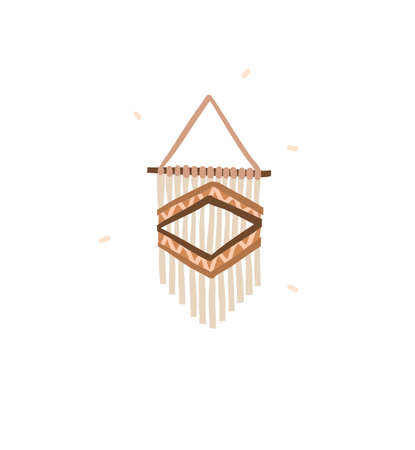 Hand drawn vector abstract stock graphic bohemian clipart illustration with beauty interior design element,modern decorated trendy macrame isolated on white background Illustration