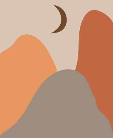 Hand drawn vector abstract stock flat gtraphic,modern clipart contemporary illustration,bohemian terracotta minimalistic landscape art print in trendy earth tones warm colors with mountains and moon Illustration