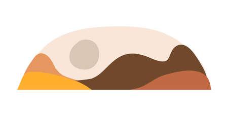 Hand drawn vector abstract stock flat gtraphic,modern clipart contemporary illustration,bohemian terracotta minimalistic landscape art print in trendy earth tones warm colors with mountains and moon.