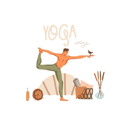 Hand drawn vector abstract stock graphic bohemian clipart illustration with young happy male character,meditating and yoga practitioner scene isolated on white background Illustration