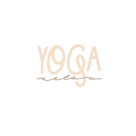 Hand drawn vector abstract stock graphic bohemian clipart illustration with yoga concept isolated on white background.Yoga time handwritten lettering Illustration