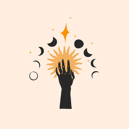 Hand drawn vector abstract stock flat graphic illustration with  element,magic line art of gold sun,human hand silhouette and moon phases in simple style for branding,isolated on color background