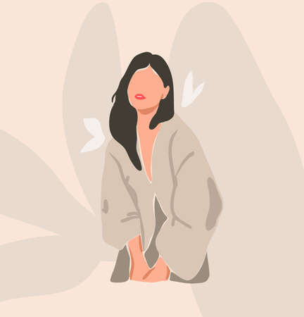Hand drawn vector abstract stock flat graphic contemporary aesthetic fashion illustration with bohemian,beautiful modern female portrait in simple trendy minimal style isolated on pastel background Illustration