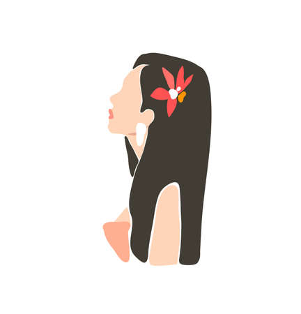 Hand drawn vector abstract stock flat graphic contemporary aesthetic fashion illustration with bohemian,beautiful modern female portrait in simple trendy minimal style isolated on white background Illustration
