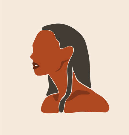 Hand drawn vector abstract flat graphic contemporary aesthetic fashion illustration with bohemian,modern african american female portrait in simple trendy minimal style isolated on pastel background