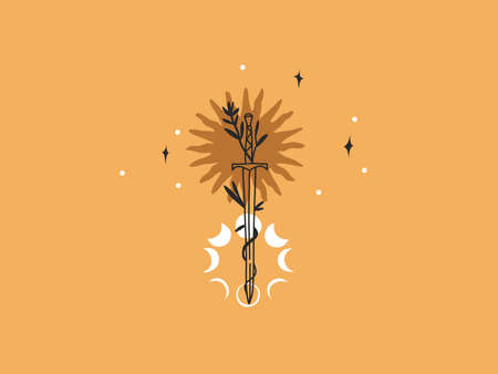 Hand drawn vector abstract stock flat graphic illustration with elements, magic line art of sun,crescent,moon phase and sword in simple style for branding ,isolated on color background
