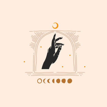 Hand drawn vector abstract stock flat graphic illustration with element,magic line art of crescent,female hand silhouette and arch frame in simple style for branding,isolated on color background Illustration