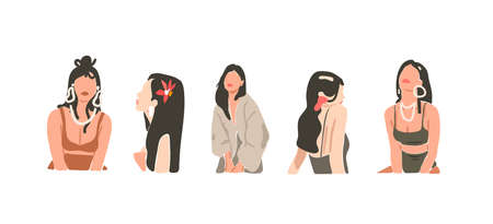 Hand drawn vector abstract stock flat graphic contemporary aesthetic fashion illustrations collection set with bohemian,beautiful modern collage female in minimal style isolated on white background