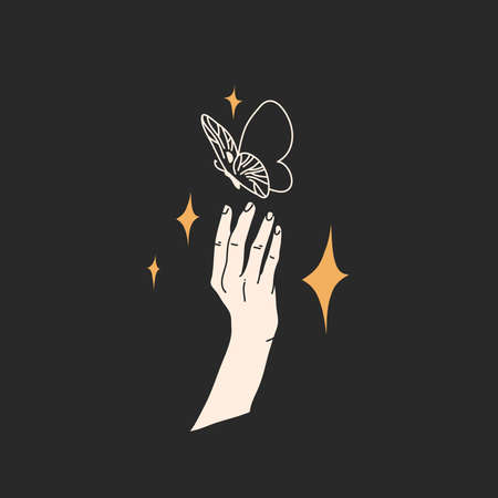 Hand drawn vector abstract stock flat graphic illustration with  elements,magic line art of butterfly,feminine hand silhouette and stars in simple style for branding ,isolated on black background Illustration