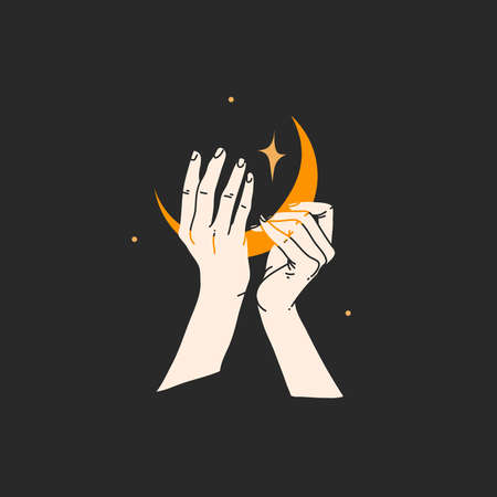 Hand drawn vector abstract stock flat graphic alchemy illustration with   elements,magic line art of golden crescent,feminine hand silhouette and stars for branding,isolated on black background Illustration