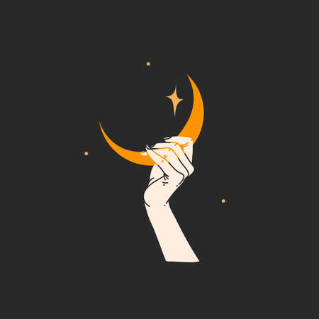 Hand drawn vector abstract stock flat graphic alchemy illustration with  elements,magic line art of golden crescent,feminine hand silhouette and stars for branding,isolated on black background
